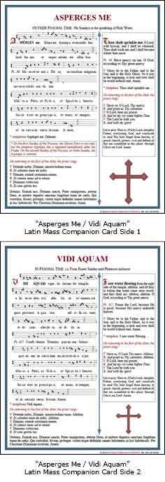 """Asperges Me/Vidi Aquam"" Latin Mass Card"